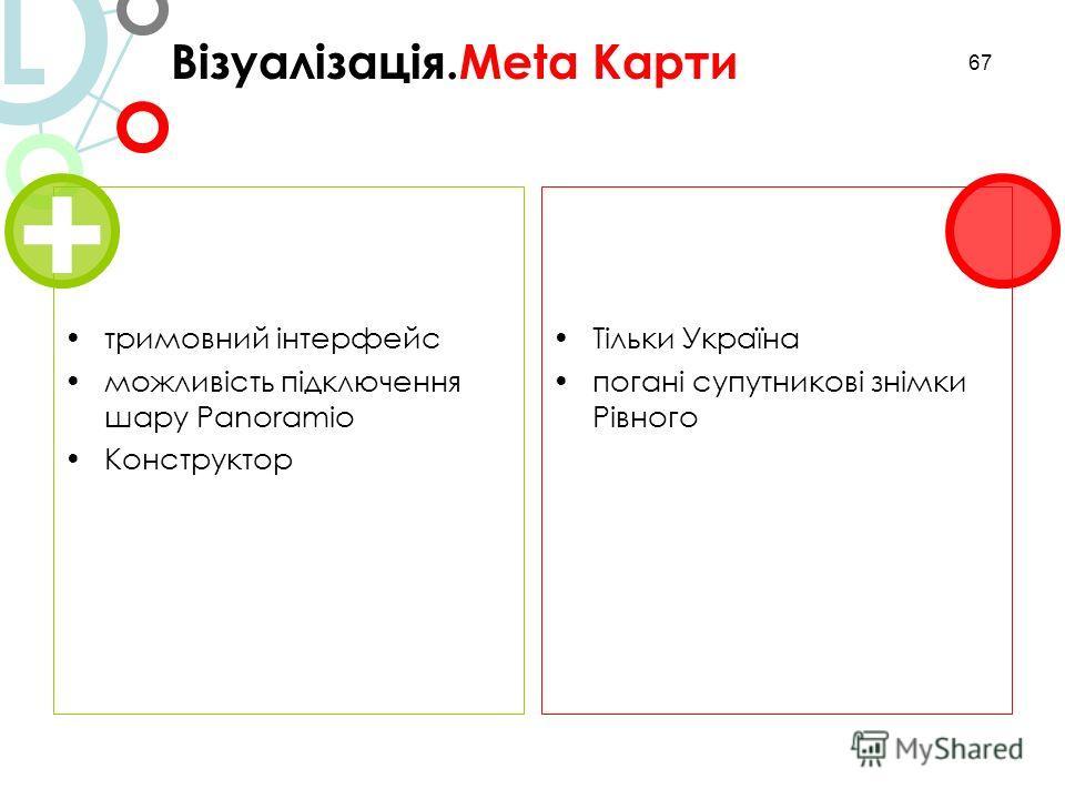 67 Візуалізація.Meta Карти L тримовний інтерфейс можливість підключення шару Panoramio Конструктор Тільки Україна погані супутникові знімки Рівного + 