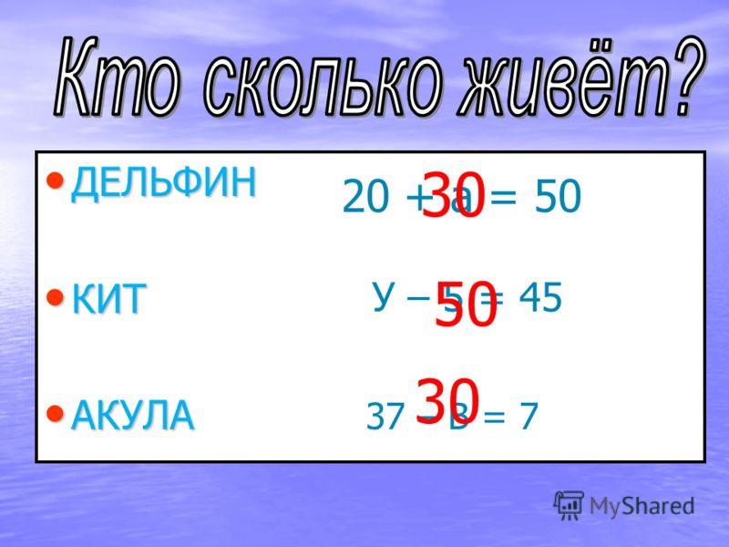 ДЕЛЬФИН ДЕЛЬФИН КИТ КИТ АКУЛА АКУЛА 20 + а = 50 = У – 5 = 45 37 – В = 7 30 50 30