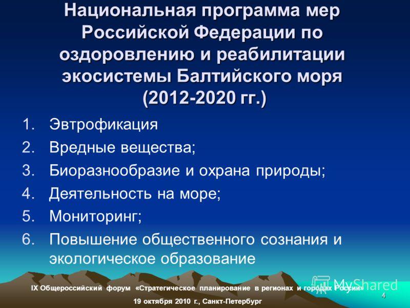 4 Национальная программа мер Российской Федерации по оздоровлению и реабилитации экосистемы Балтийского моря (2012-2020 гг.) 1.Эвтрофикация 2.Вредные вещества; 3.Биоразнообразие и охрана природы; 4.Деятельность на море; 5.Мониторинг; 6.Повышение обще
