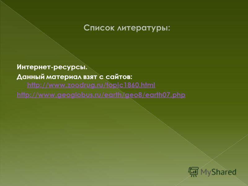 Интернет-ресурсы. Данный материал взят с сайтов: http://www.zoodrug.ru/topic1860.html http://www.zoodrug.ru/topic1860.html http://www.geoglobus.ru/earth/geo8/earth07.php