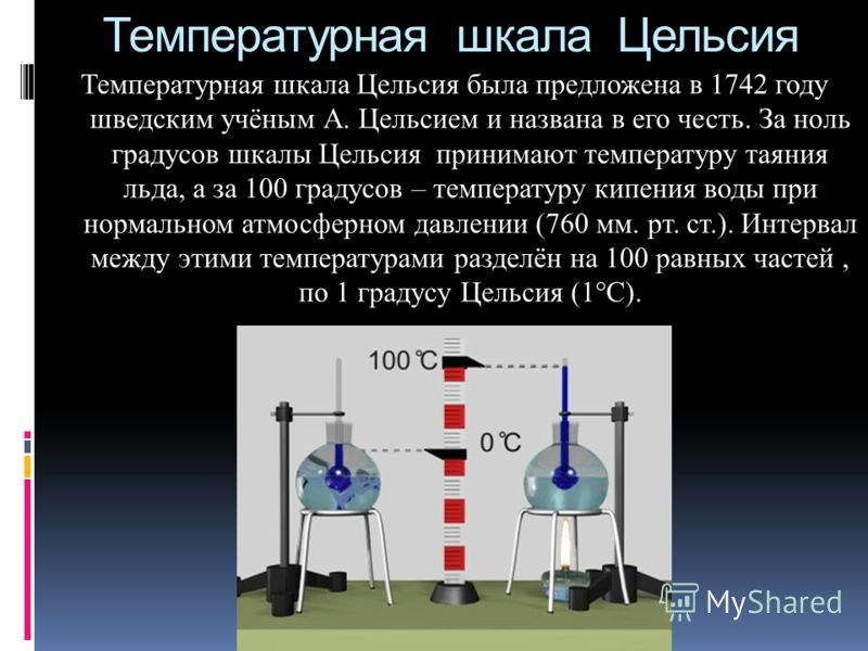 Температурная шкала Цельсия Температурная шкала Цельсия была предложена в 1742 году шведским учёным А. Цельсием и названа в его честь. За ноль градусов шкалы Цельсия принимают температуру таяния льда, а за 100 градусов – температуру кипения воды при