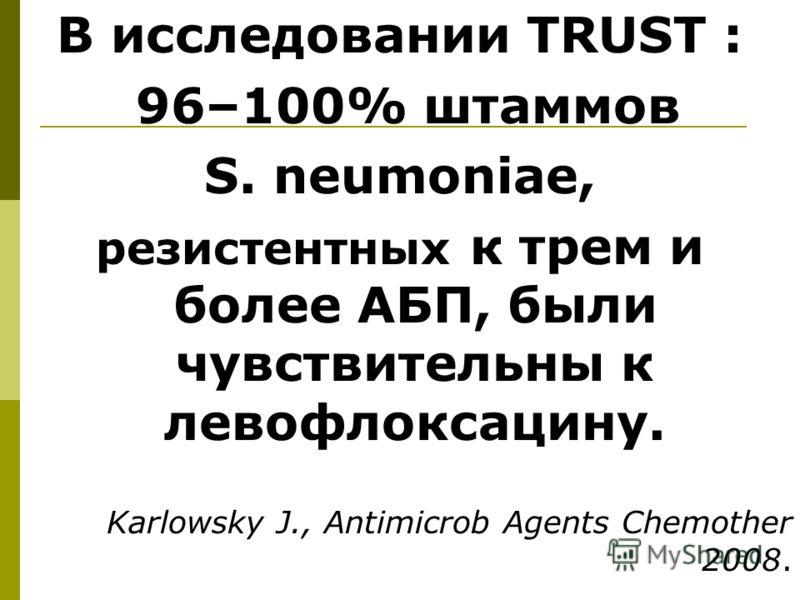 В исследовании TRUST : 96–100% штаммов S. neumoniae, резистентных к трем и более АБП, были чувствительны к левофлоксацину. Karlowsky J., Antimicrob Аgents Сhemother 2008.