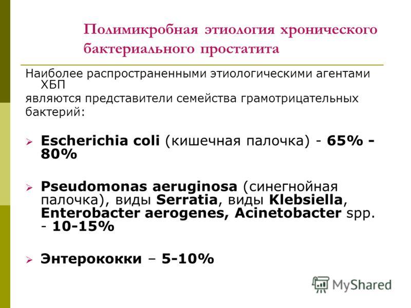 Полимикробная этиология хронического бактериального простатита Наиболее распространенными этиологическими агентами ХБП являются представители семейства грамотрицательных бактерий: Escherichia coli (кишечная палочка) - 65% - 80% Pseudomonas aeruginosa