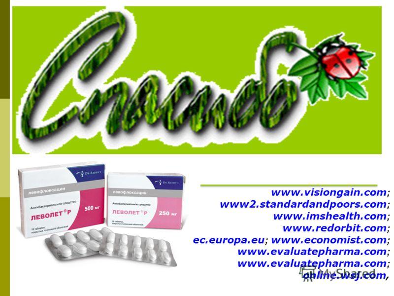 www.visiongain.com ; www2.standardandpoors.com ; www.imshealth.com ; www.redorbit.com ; ec.europa.eu ; www.economist.com ; www.evaluatepharma.com ; www.evaluatepharma.com ; online.wsj.com,