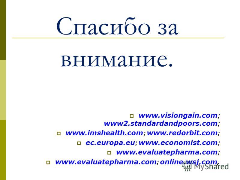 Спасибо за внимание. www.visiongain.com ; www2.standardandpoors.com ; www.imshealth.com ; www.redorbit.com ; ec.europa.eu ; www.economist.com ; www.evaluatepharma.com ; www.evaluatepharma.com ; online.wsj.com,
