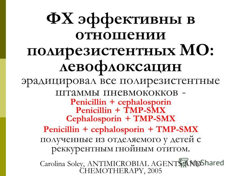 ФХ эффективны в отношении полирезистентных МО: левофлоксацин эрадицировал все полирезистентные штаммы пневмококков - Penicillin + cephalosporin Penicillin + TMP-SMX Cephalosporin + TMP-SMX Penicillin + cephalosporin + TMP-SMX полученные из отделяемог