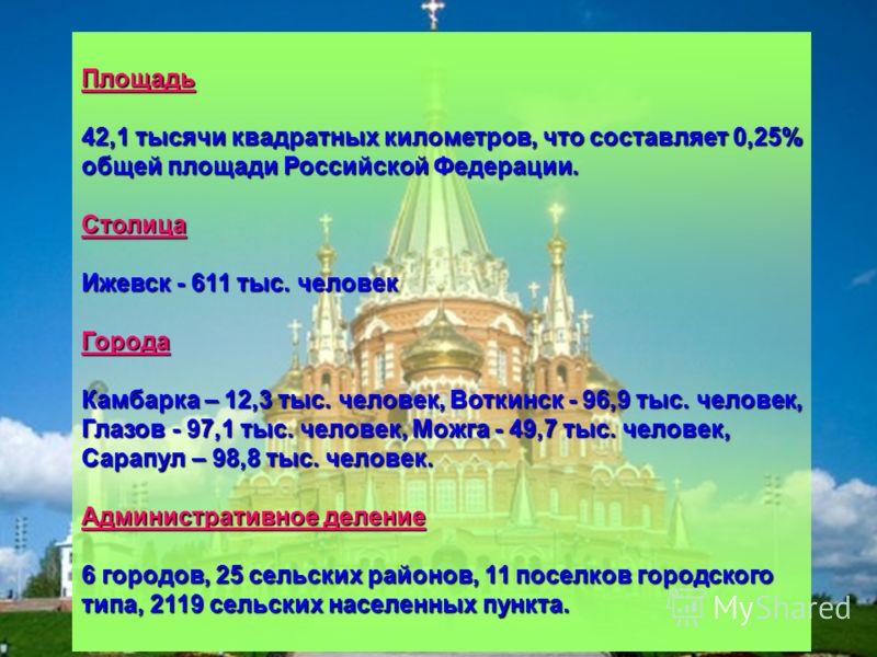 Площадь 42,1 тысячи квадратных километров, что составляет 0,25% общей площади Российской Федерации. Столица Ижевск - 611 тыс. человек Города Камбарка – 12,3 тыс. человек, Воткинск - 96,9 тыс. человек, Глазов - 97,1 тыс. человек, Можга - 49,7 тыс. чел