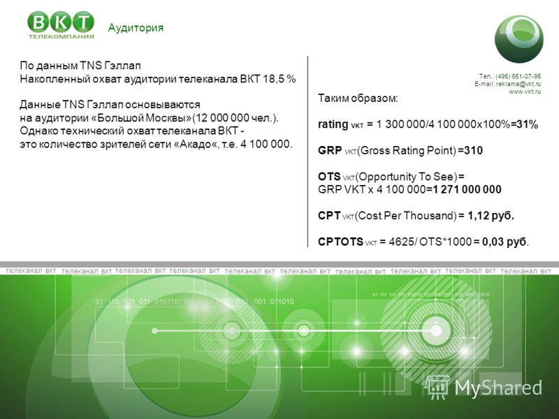 телеканал вкт Тел.: (495) 651-07-95 E-mail: reklama@vkt.ru www.vkt.ru Аудитория Данные TNS RUSSIA за Март 2011 Таким образом: rating VKT = 1 300 000/4 100 000х100%=31% GRP VKT (Gross Rating Point) =310 OTS VKT (Opportunity То See) = GRP VKT х 4 100 0