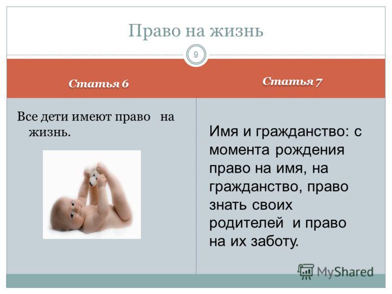 Статья 6 Статья 7 Все дети имеют право на жизнь. Право на жизнь 9 Имя и гражданство: с момента рождения право на имя, на гражданство, право знать своих родителей и право на их заботу.