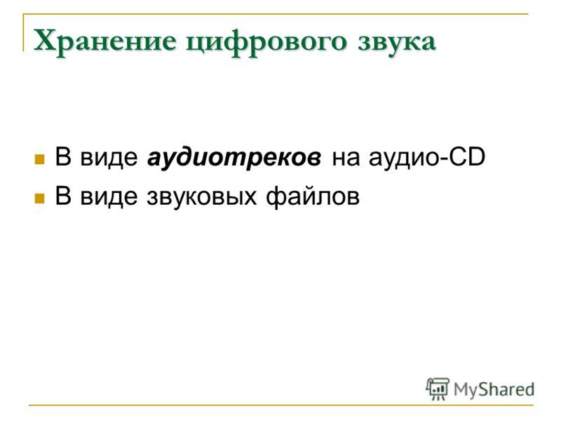 Хранение цифрового звука В виде аудиотреков на аудио-CD В виде звуковых файлов