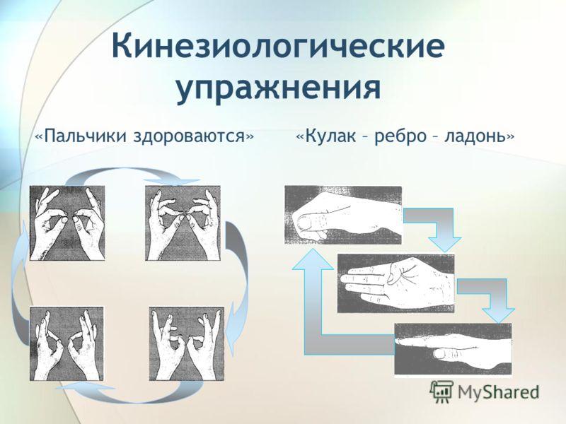 Кинезиологические упражнения «Пальчики здороваются»«Кулак – ребро – ладонь»
