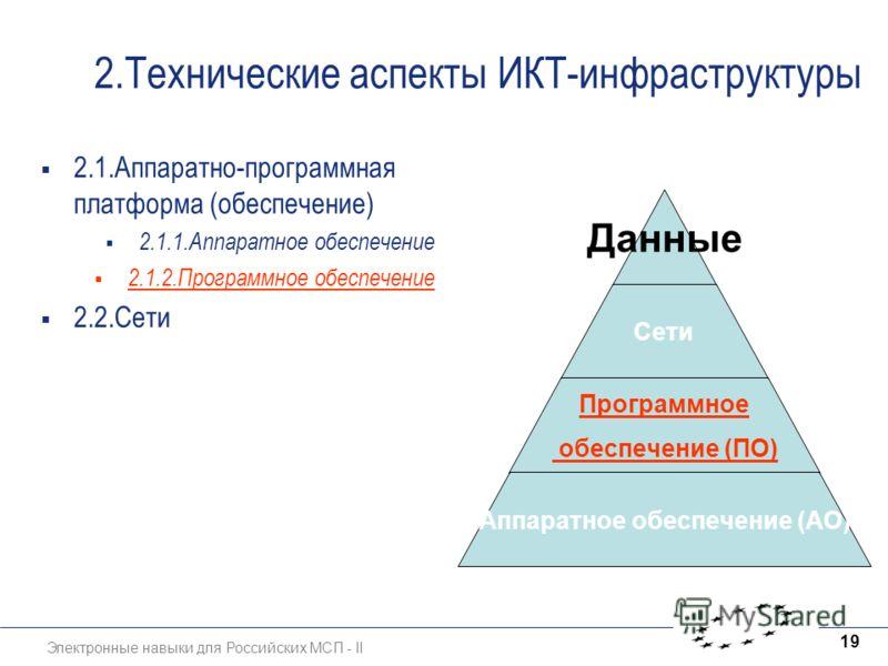 Электронные навыки для Российских МСП - II 19 2.Технические аспекты ИКТ-инфраструктуры 2.1.Аппаратно-программная платформа (обеспечение) 2.1.1.Аппаратное обеспечение 2.1.2.Программное обеспечение 2.2.Сети Данные Сети Программное обеспечение (ПО) Аппа