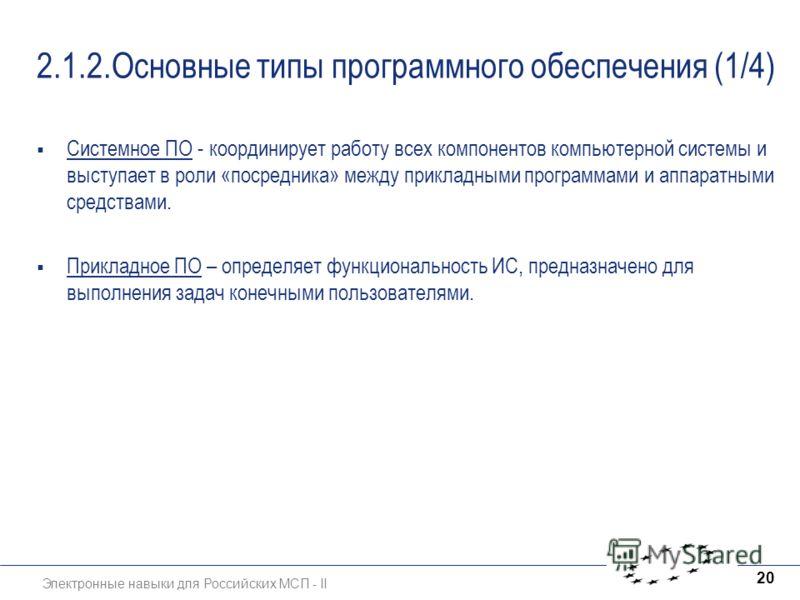 Электронные навыки для Российских МСП - II 20 2.1.2.Основные типы программного обеспечения (1/4) Системное ПО - координирует работу всех компонентов компьютерной системы и выступает в роли «посредника» между прикладными программами и аппаратными сред
