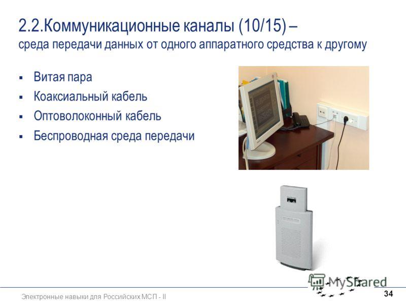 Электронные навыки для Российских МСП - II 34 2.2.Коммуникационные каналы (10/15) – среда передачи данных от одного аппаратного средства к другому Витая пара Коаксиальный кабель Оптоволоконный кабель Беспроводная среда передачи