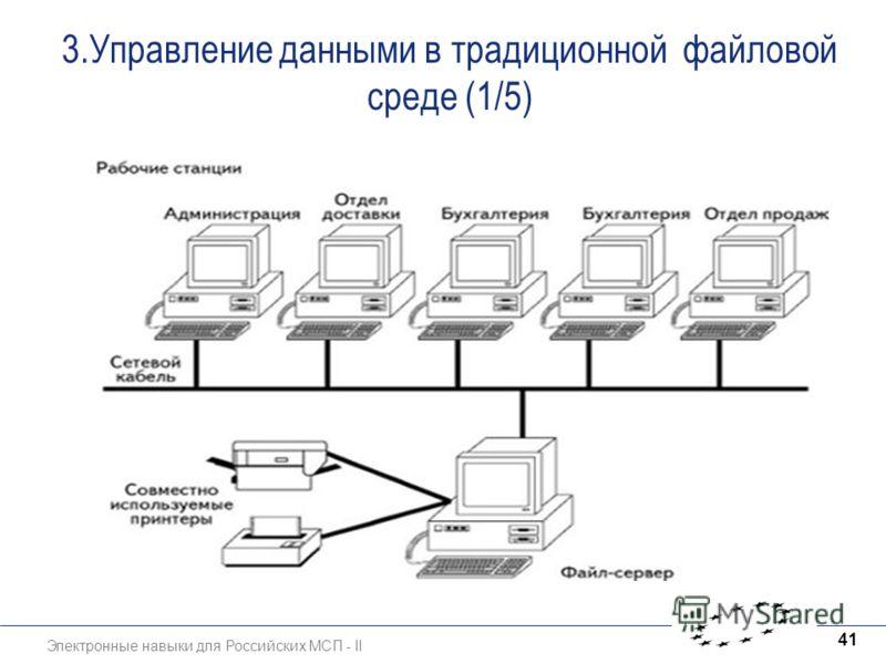 Электронные навыки для Российских МСП - II 41 3.Управление данными в традиционной файловой среде (1/5)