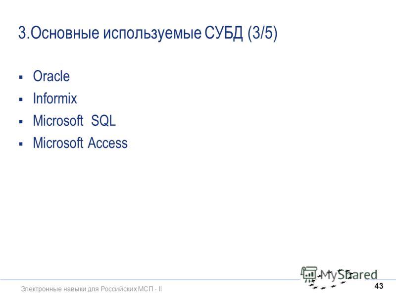 Электронные навыки для Российских МСП - II 43 3.Основные используемые СУБД (3/5) Oracle Informix Microsoft SQL Microsoft Access
