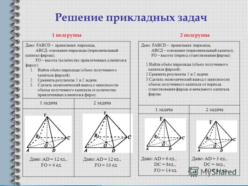 Решение прикладных задач F F Дано: FABCD – правильная пирамида, АВСД- основание пирамиды (первоначальный капитал фирмы), FО – высота (количество привлеченных клиентов в фирму). 1.Найти объём пирамиды (объем полученного капитала фирмой). 2.Сравнить ре