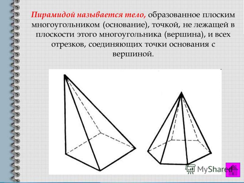 Пирамидой называется тело, образованное плоским многоугольником (основание), точкой, не лежащей в плоскости этого многоугольника (вершина), и всех отрезков, соединяющих точки основания с вершиной.