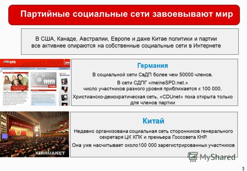 3 Партийные социальные сети завоевывают мир В США, Канаде, Австралии, Европе и даже Китае политики и партии все активнее опираются на собственные социальные сети в Интернете Германия В социальной сети СвДП более чем 50000 членов. В сети СДПГ «meineSP