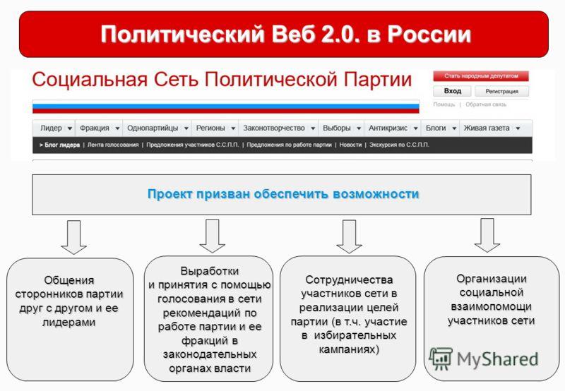 Политический Веб 2.0. в России Проект призван обеспечить возможности Общения сторонников партии друг с другом и ее лидерами Выработки и принятия с помощью голосования в сети рекомендаций по работе партии и ее фракций в законодательных органах власти