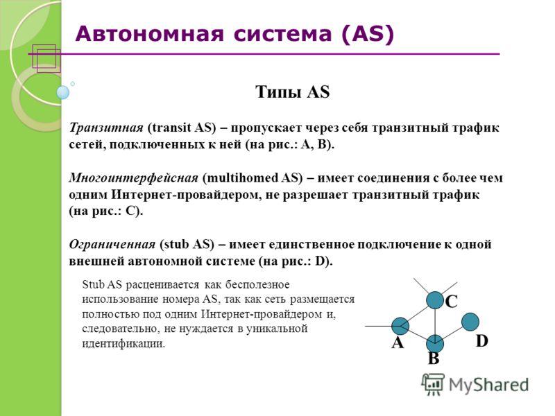Автономная система (AS) Типы AS Транзитная (transit AS) – пропускает через себя транзитный трафик сетей, подключенных к ней (на рис.: A, B). Многоинтерфейсная (multihomed AS) – имеет соединения с более чем одним Интернет-провайдером, не разрешает тра