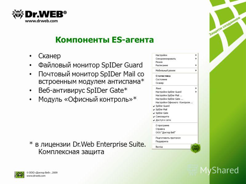 Компоненты ES-агента Сканер Файловый монитор SpIDer Guard Почтовый монитор SpIDer Mail со встроенным модулем антиспама* Веб-антивирус SpIDer Gate* Модуль «Офисный контроль»* * в лицензии Dr.Web Enterprise Suite. Комплексная защита