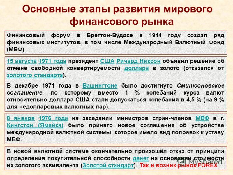 Основные этапы развития мирового финансового рынка Финансовый форум в Бреттон-Вуддсе в 1944 году создал ряд финансовых институтов, в том числе Международный Валютный Фонд (МВФ) 15 августа15 августа 1971 года президент США Ричард Никсон объявил решени