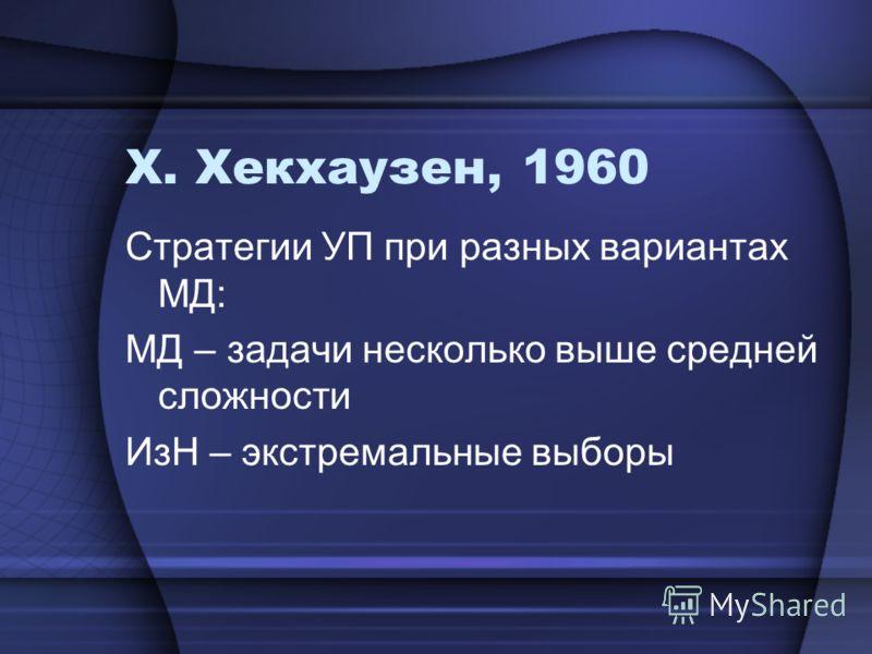 Х. Хекхаузен, 1960 Стратегии УП при разных вариантах МД: МД – задачи несколько выше средней сложности ИзН – экстремальные выборы
