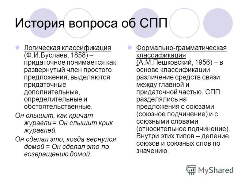 История вопроса об СПП Логическая классификация (Ф.И.Буслаев, 1858) – придаточное понимается как развернутый член простого предложения, выделяются придаточные дополнительные, определительные и обстоятельственные. Он слышит, как кричат журавли = Он сл
