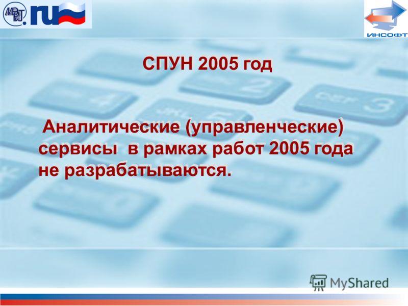 СПУН 2005 год Аналитические (управленческие) сервисы в рамках работ 2005 года не разрабатываются. СПУН 2005 год Аналитические (управленческие) сервисы в рамках работ 2005 года не разрабатываются.
