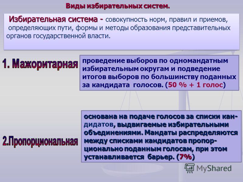 проведение выборов по одномандатным избирательным округам и подведение итогов выборов по большинству поданных за кандидата голосов. (50 % + 1 голос) основана на подаче голосов за списки кан-, выдвигаемые избирательными основана на подаче голосов за с