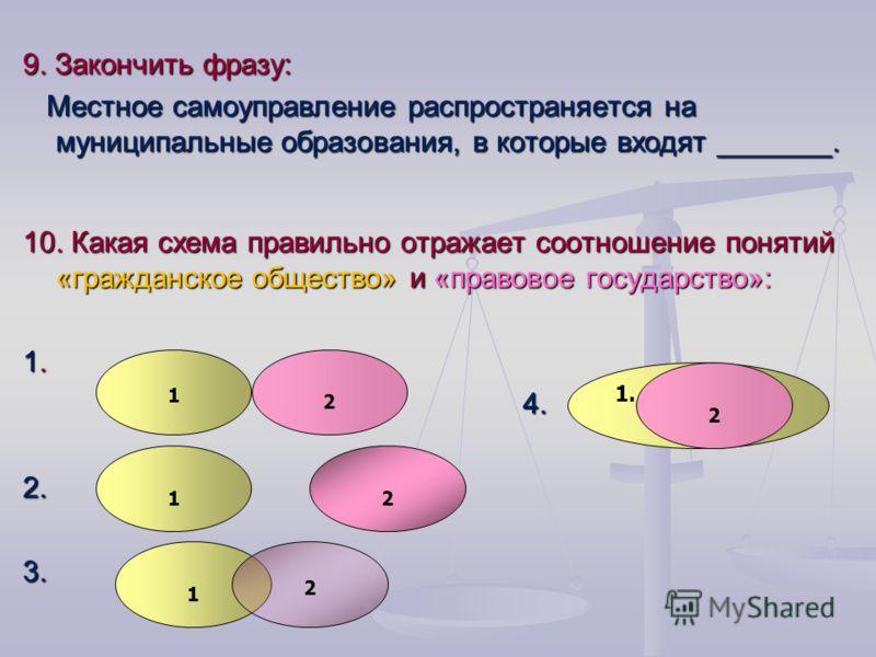 9. Закончить фразу: Местное самоуправление распространяется на муниципальные образования, в которые входят _______. Местное самоуправление распространяется на муниципальные образования, в которые входят _______. 10. Какая схема правильно отражает соо