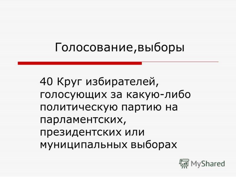 40 Круг избирателей, голосующих за какую-либо политическую партию на парламентских, президентских или муниципальных выборах Голосование,выборы