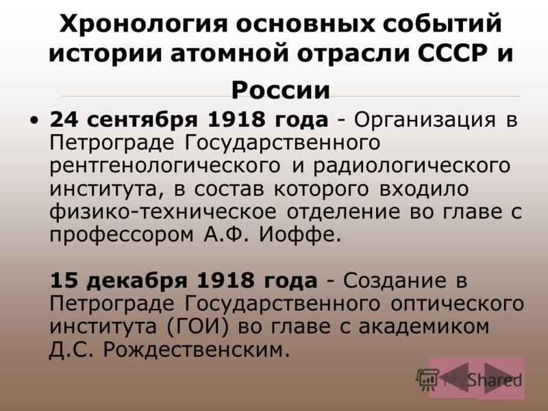 Хронология основных событий истории атомной отрасли СССР и России 24 сентября 1918 года - Организация в Петрограде Государственного рентгенологического и радиологического института, в состав которого входило физико-техническое отделение во главе с пр