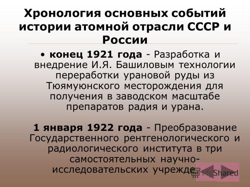 Хронология основных событий истории атомной отрасли СССР и России конец 1921 года - Разработка и внедрение И.Я. Башиловым технологии переработки урановой руды из Тюямуюнского месторождения для получения в заводском масштабе препаратов радия и урана.
