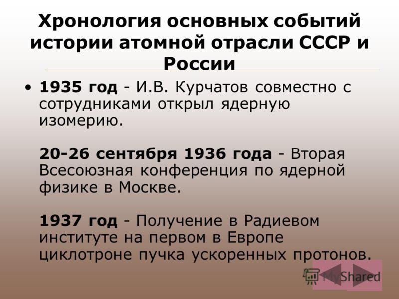 Хронология основных событий истории атомной отрасли СССР и России 1935 год - И.В. Курчатов совместно с сотрудниками открыл ядерную изомерию. 20-26 сентября 1936 года - Вторая Всесоюзная конференция по ядерной физике в Москве. 1937 год - Получение в Р