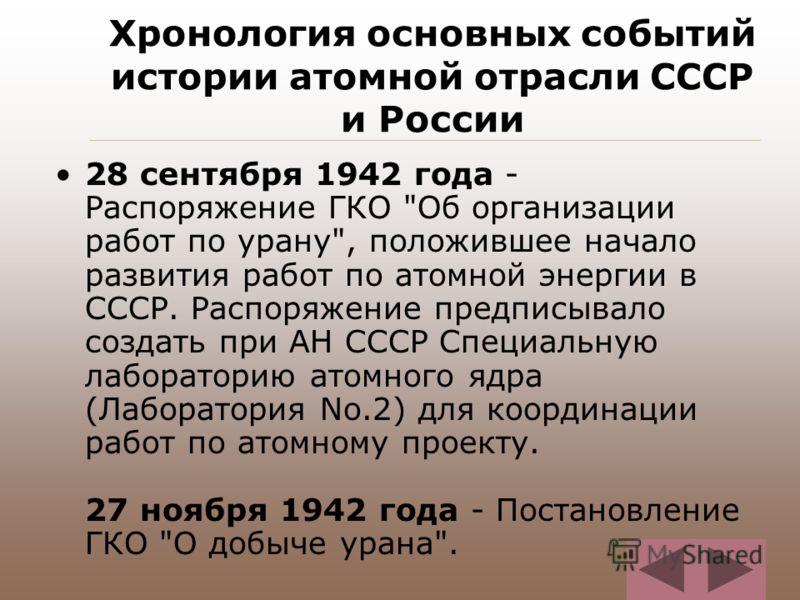 Хронология основных событий истории атомной отрасли СССР и России 28 сентября 1942 года - Распоряжение ГКО