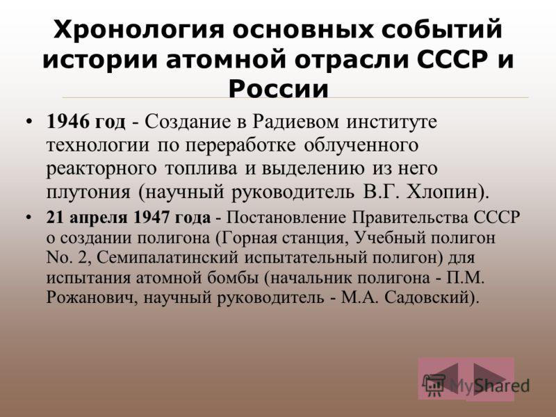 Хронология основных событий истории атомной отрасли СССР и России 1946 год - Создание в Радиевом институте технологии по переработке облученного реакторного топлива и выделению из него плутония (научный руководитель В.Г. Хлопин). 21 апреля 1947 года