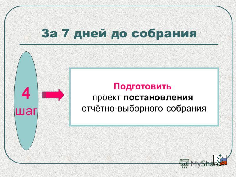 За 7 дней до собрания 4 шаг Подготовить проект постановления отчётно-выборного собрания