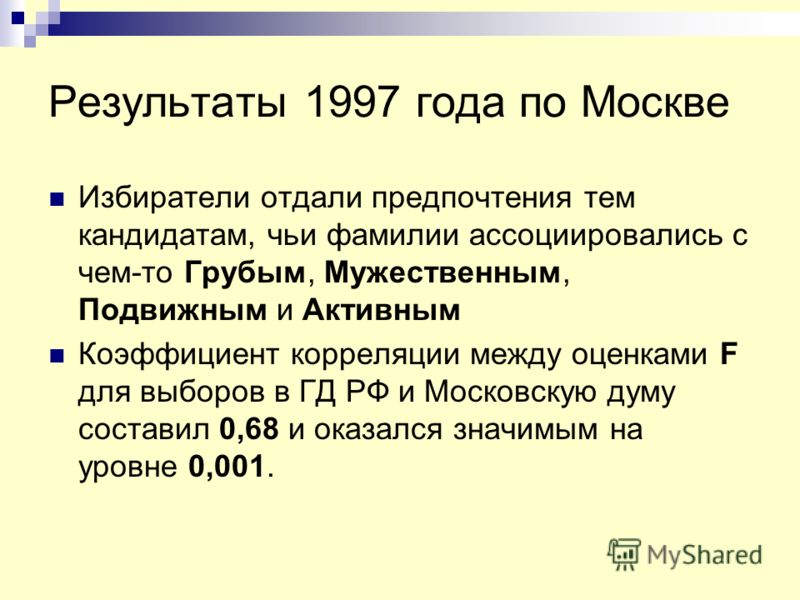 Результаты 1997 года по Москве Избиратели отдали предпочтения тем кандидатам, чьи фамилии ассоциировались с чем-то Грубым, Мужественным, Подвижным и Активным Коэффициент корреляции между оценками F для выборов в ГД РФ и Московскую думу составил 0,68