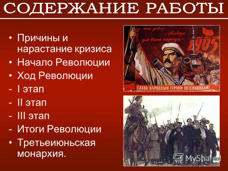 Причины и нарастание кризиса Начало Революции Ход Революции -I этап -II этап -III этап -Итоги Революции Третьеиюньская монархия.