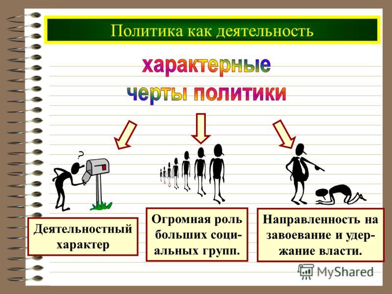 Политика как деятельность Огромная роль больших соци- альных групп. Деятельностный характер Направленность на завоевание и удер- жание власти.