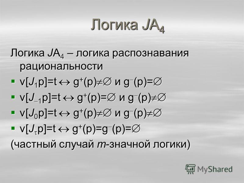 Логика JA 4 Логика JA 4 – логика распознавания рациональности v[J 1 p]=t g + (p) и g (p)= v[J 1 p]=t g + (p) и g (p)= v[J 1 p]=t g + (p)= и g (p) v[J 1 p]=t g + (p)= и g (p) v[J 0 p]=t g + (p) и g (p) v[J 0 p]=t g + (p) и g (p) v[J p]=t g + (p)=g (p)