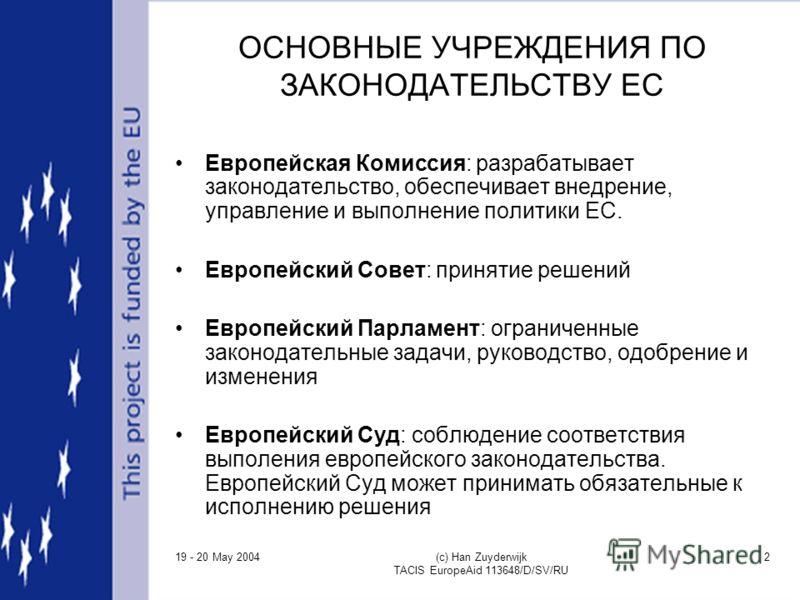 19 - 20 May 2004 (c) Han Zuyderwijk TACIS EuropeAid 113648/D/SV/RU 2 ОСНОВНЫЕ УЧРЕЖДЕНИЯ ПО ЗАКОНОДАТЕЛЬСТВУ ЕС Европейская Комиссия: разрабатывает законодательство, обеспечивает внедрение, управление и выполнение политики ЕС. Европейский Совет: прин