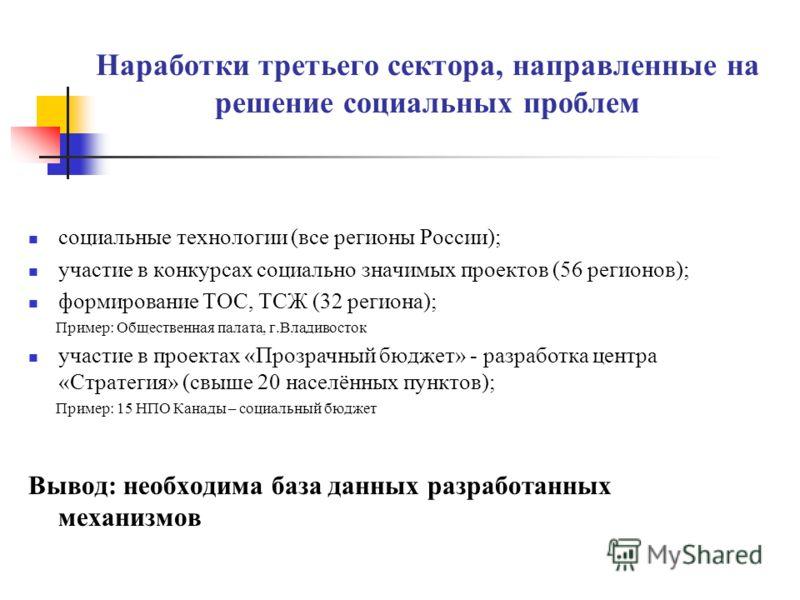 Формы межсекторного социального взаимодействия и партнерства для продвижения гражданских инициатив Общественный договор (например, в 1997 г. заключен в Великобритании между правительством и ННКО) Общественно-государственные консультации Общественные,