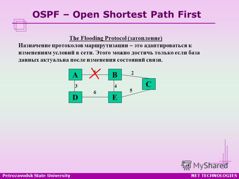 Petrozavodsk State UniversityNET TECHNOLOGIES OSPF – Open Shortest Path First The Flooding Protocol (затопление) Назначение протоколов маршрутизации – это адаптироваться к изменениям условий в сети. Этого можно достичь только если база данных актуаль