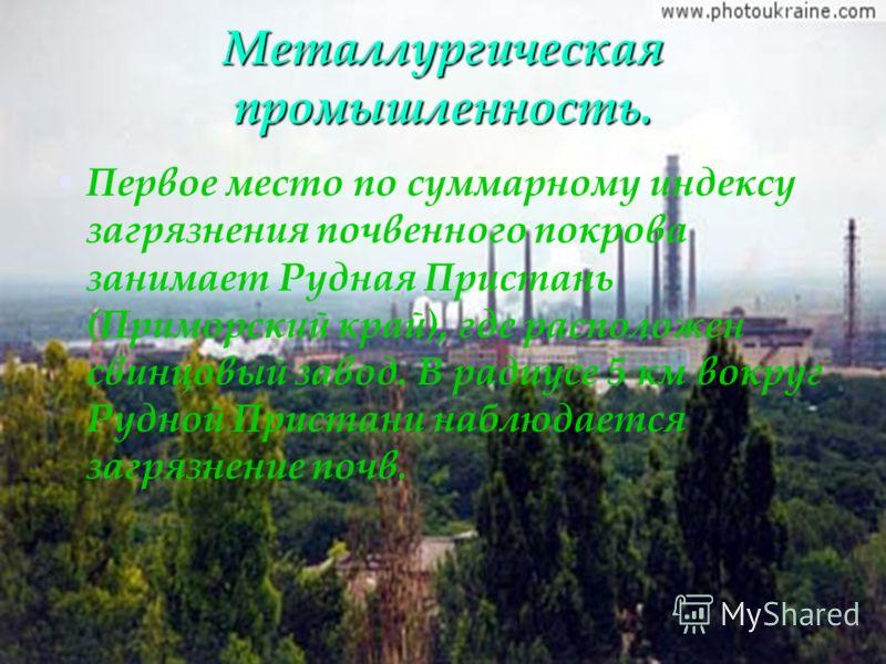 Металлургическая промышленность. Первое место по суммарному индексу загрязнения почвенного покрова занимает Рудная Пристань (Приморский край), где расположен свинцовый завод. В радиусе 5 км вокруг Рудной Пристани наблюдается загрязнение почв.