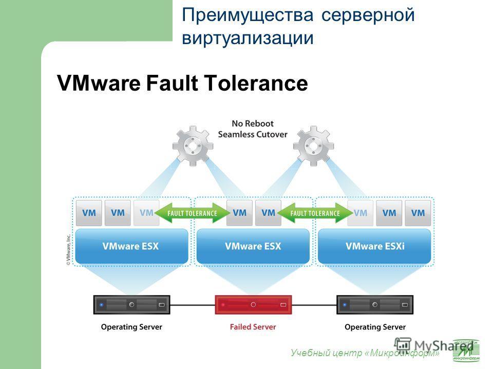 Учебный центр «Микроинформ» VMware Fault Tolerance Преимущества серверной виртуализации