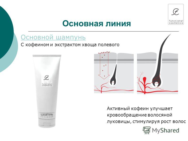 Основная линия Основной шампунь С кофеином и экстрактом хвоща полевого Активный кофеин улучшает кровообращение волосяной луковицы, стимулируя рост волос