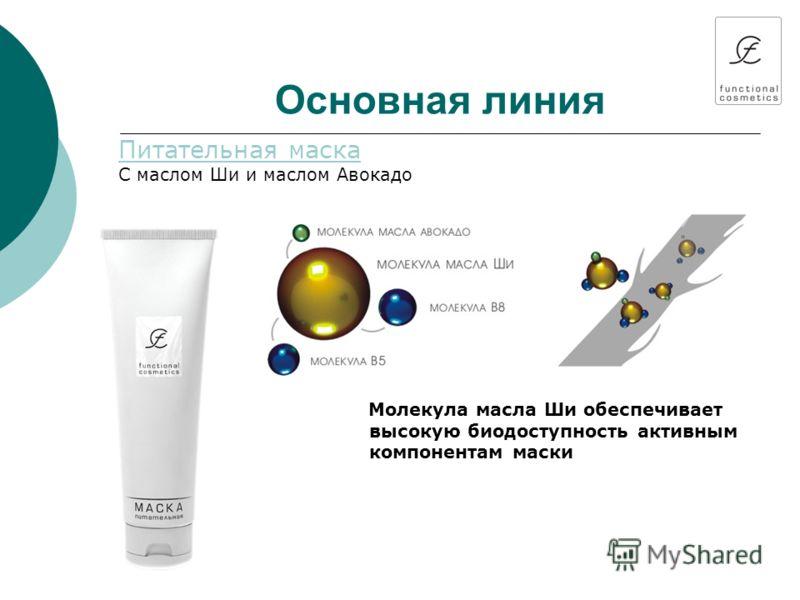 Основная линия Питательная маска С маслом Ши и маслом Авокадо Молекула масла Ши обеспечивает высокую биодоступность активным компонентам маски